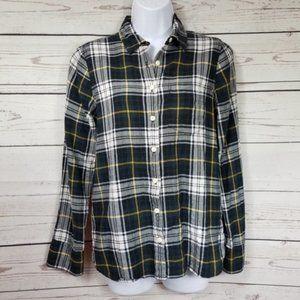 J CREW Shrunken boy shirt in navy plaid button up